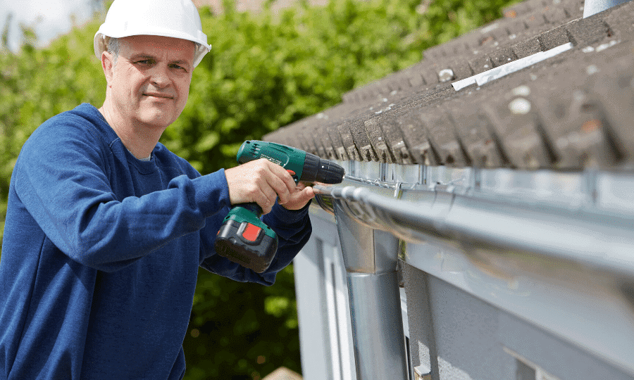 how to paint high gutters